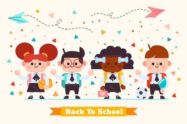 フラットなデザインの子供たちが学校の図に戻る