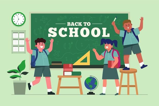 フラットデザインの子供たちが学校に戻る