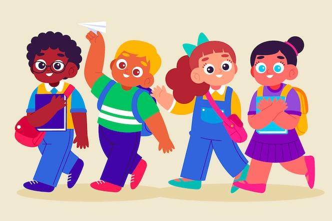 Плоский дизайн детей обратно в школу