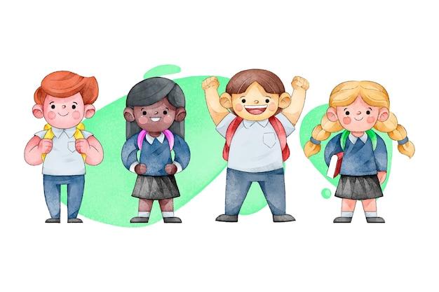 다시 학교로 평면 디자인 어린이