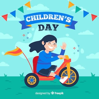 Flat design children's day background with girl