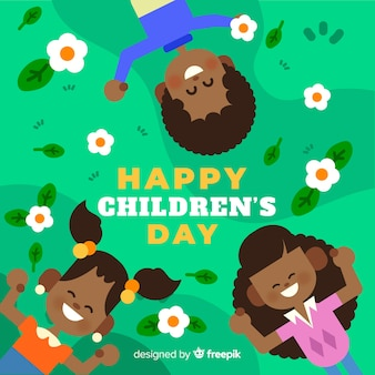 Flat design children's day background