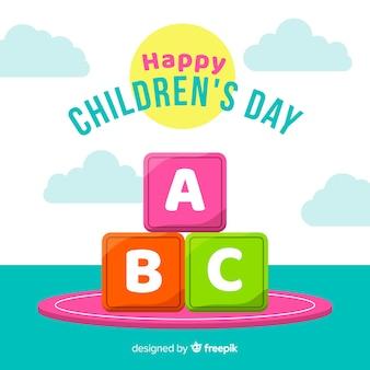 Flat design children's day background