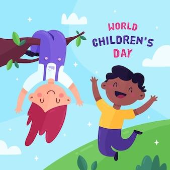 Детский день в плоском дизайне