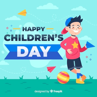Flat design of children's day with child playing outside