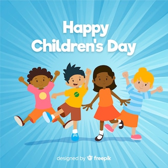Flat design of children's day with children cheering