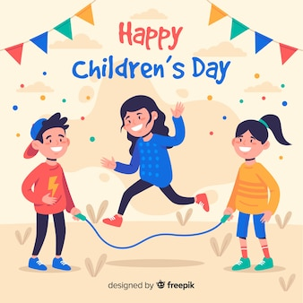 Flat design of children's day with children and garlands