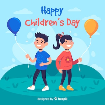 Flat design of children's day with children holding balloons