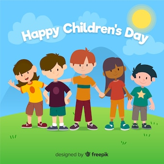 Flat design of children's day with children holding hands