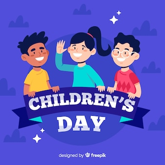 Flat design of children's day with children in the night