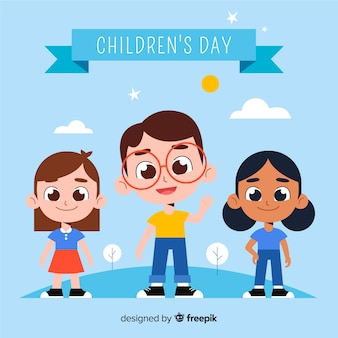 Flat design of children's day with children