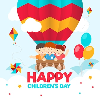 Flat design for childrens day event