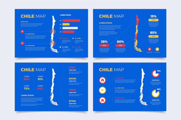 Flat design chile map infographic