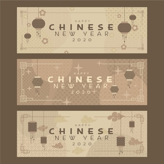 Flat design chinese new year banners