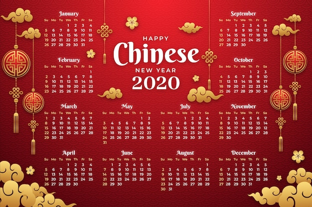 Flat design chinese new year calendar