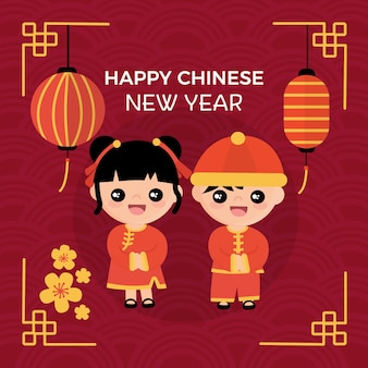 Flat design chinese new year concept