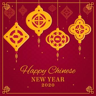 Flat design chinese new year wallpaper