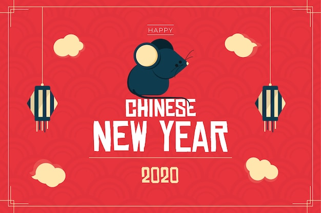 Flat design chinese new year with rat illustration
