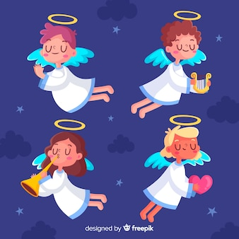 Flat design of christmas angel collection