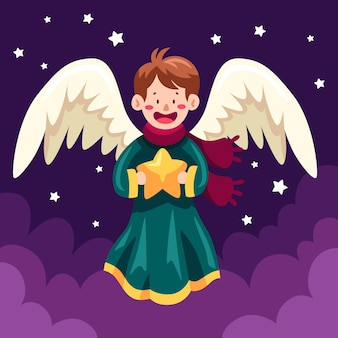 Flat design christmas angel  holding star