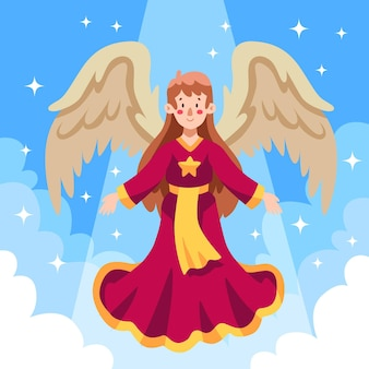 Flat design christmas angel in sky