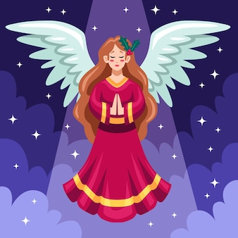 Flat design christmas angel with clouds