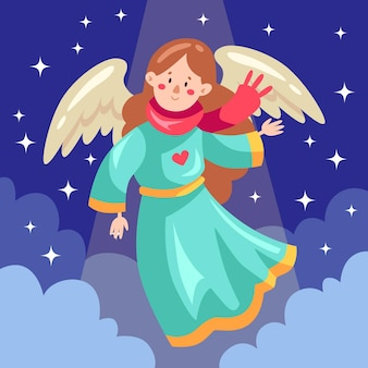 Flat design christmas angel with scarf