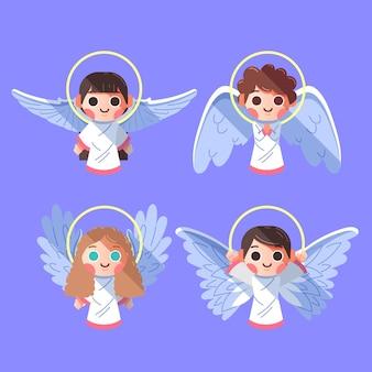 Flat design christmas angel