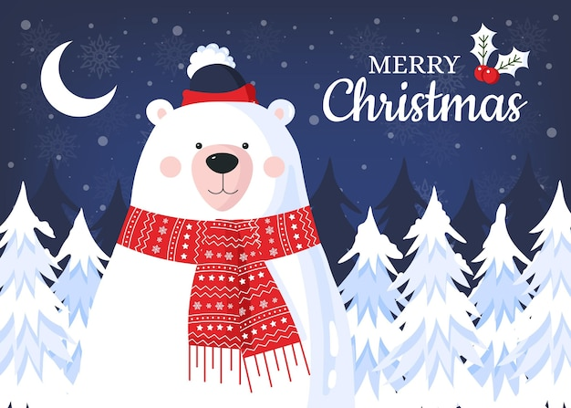 Flat design christmas background with bear