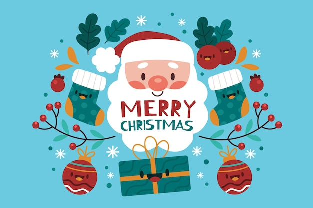 Flat design christmas background with santa claus