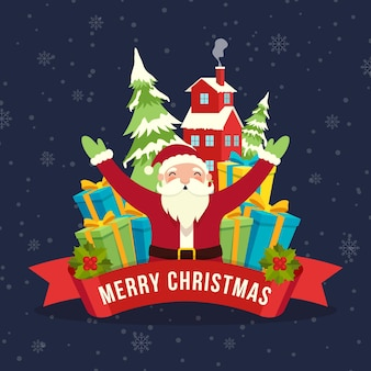 Flat design christmas background with santa