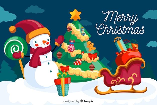 Flat design of christmas background