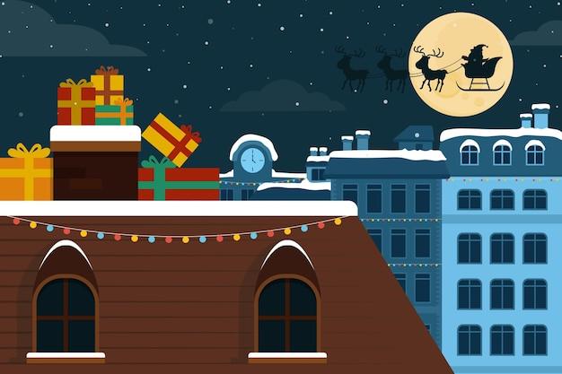 Flat design christmas background