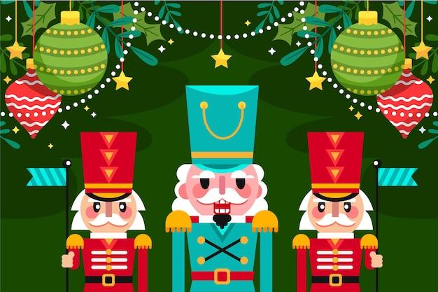 フラットなデザインのクリスマスの背景