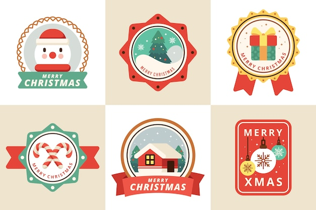 Flat design christmas badge collection