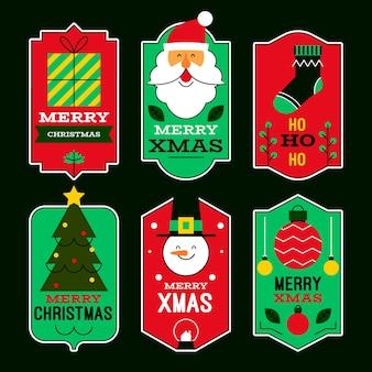 Плоский дизайн рождественской коллекции значков