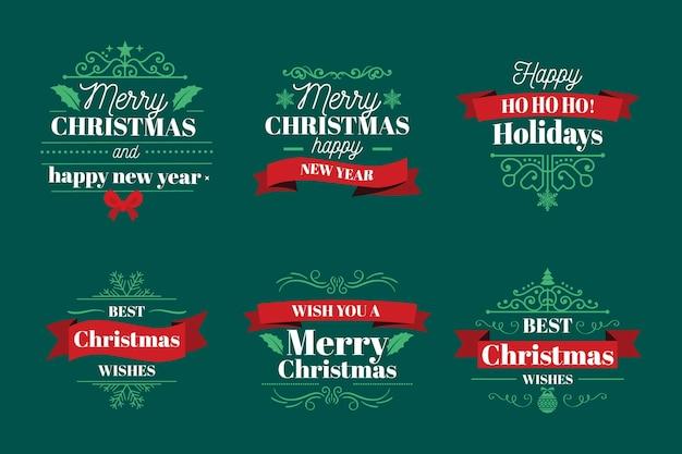 평면 디자인 크리스마스 배지 컬렉션