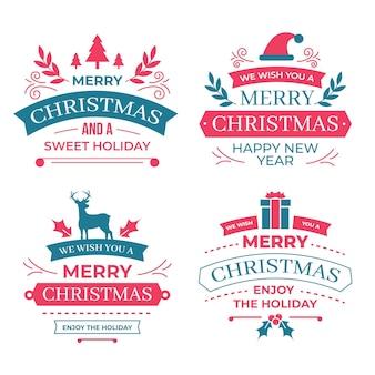 フラットデザインのクリスマスバッジコレクション