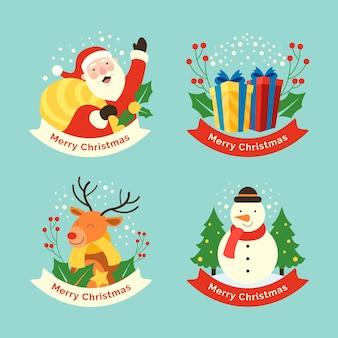 Flat design christmas badge collection