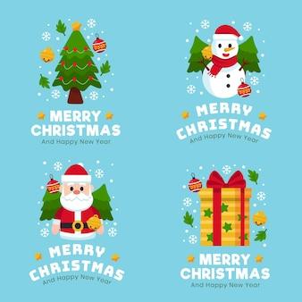 Collezione di badge natalizi design piatto