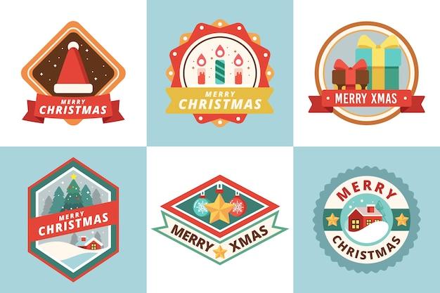 Плоский дизайн рождественский значок набор