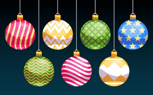 Коллекция рождественских шаров в плоском дизайне