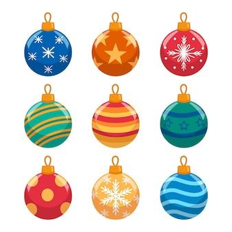 Коллекция рождественских украшений в плоском дизайне