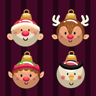 Flat design christmas ball ornaments collection