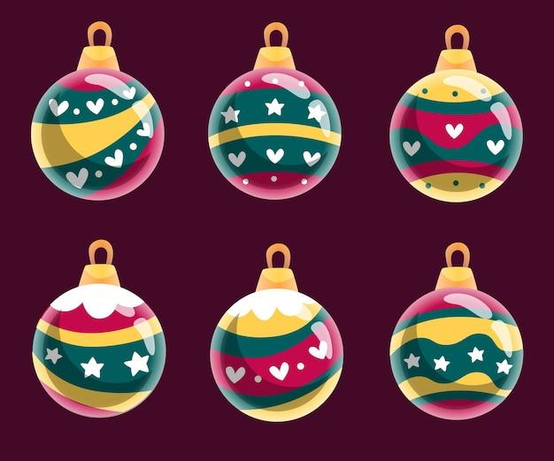 フラットデザインのクリスマスボールオーナメントセット
