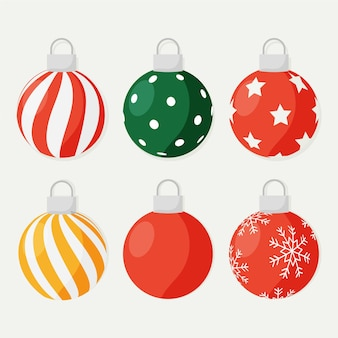 Flat design christmas ball ornaments