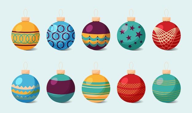 Flat design christmas ball ornaments