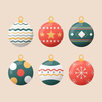 フラットなデザインのクリスマスボールの飾り