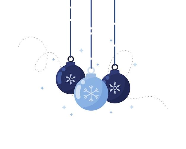 白い背景の上のフラットなデザインのクリスマスボールの飾り。青い