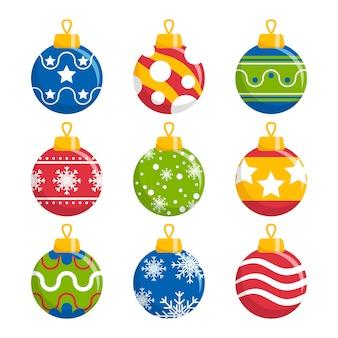 Flat design christmas balls set